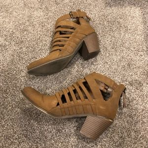 G by Guess tan cutout booties